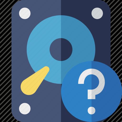 data, disk, drive, hard, hdd, help, storage icon