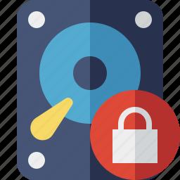 data, disk, drive, hard, hdd, lock, storage icon