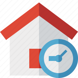address, building, clock, home, house icon