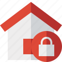 address, building, home, house, lock icon