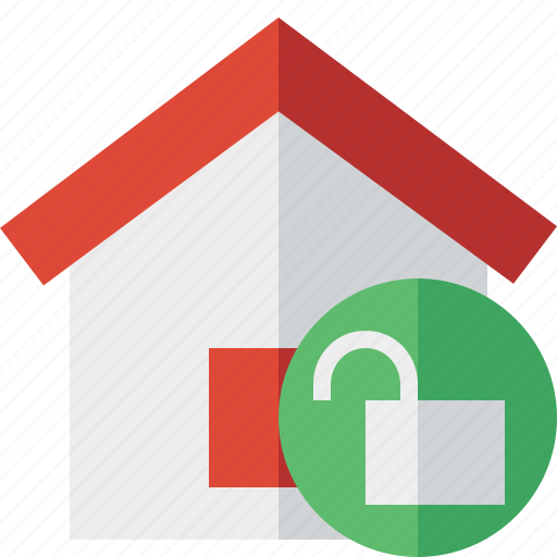 address, building, home, house, unlock icon