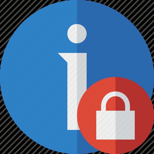 about, data, details, help, information, lock icon