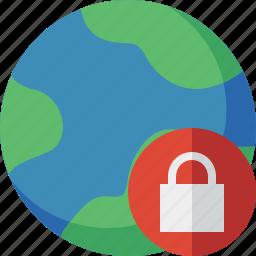 earth, internet, lock, planet, web, world icon