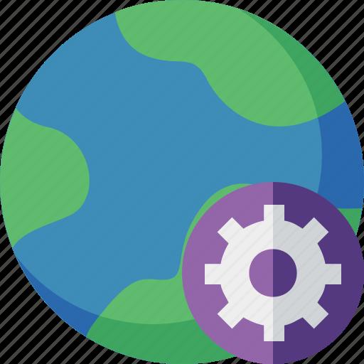 earth, internet, planet, settings, web, world icon