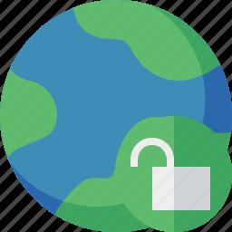 earth, internet, planet, unlock, web, world icon