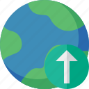 earth, internet, planet, upload, web, world icon