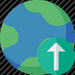 earth, internet, planet, upload, web, world icon