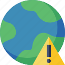 earth, internet, planet, warning, web, world icon