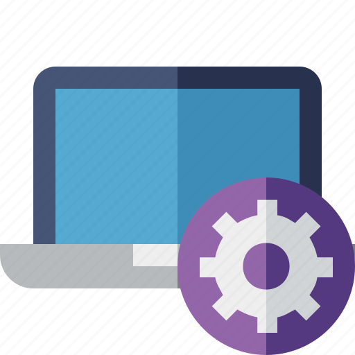 computer, laptop, notebook, pc, screen, settings icon
