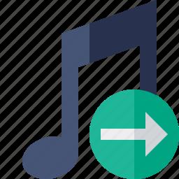 audio, multimedia, music, next, note, sound icon