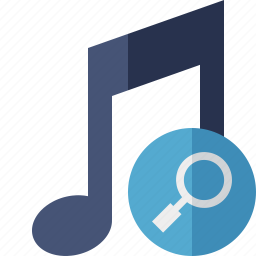 audio, multimedia, music, note, search, sound icon