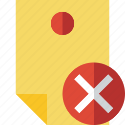 cancel, document, memo, note, pin, reminder, sticker icon