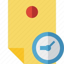 clock, document, memo, note, pin, reminder, sticker icon