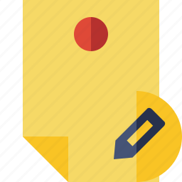 document, edit, memo, note, pin, reminder, sticker icon