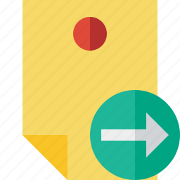 document, memo, next, note, pin, reminder, sticker icon