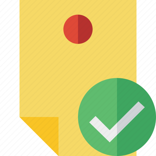 document, memo, note, ok, pin, reminder, sticker icon