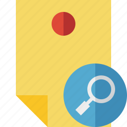document, memo, note, pin, reminder, search, sticker icon