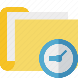 category, clock, documents, file, folder icon