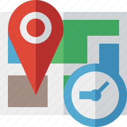 clock, gps, location, map, marker, navigation, pin icon