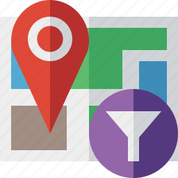 filter, gps, location, map, marker, navigation, pin icon