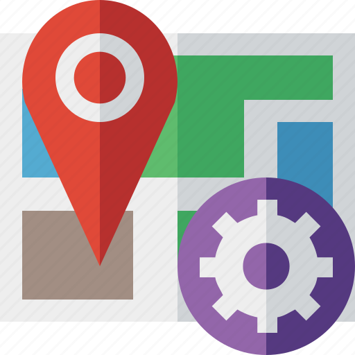 gps, location, map, marker, navigation, pin, settings icon