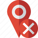 cancel, gps, location, map, marker, navigation, pin