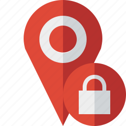 gps, location, lock, map, marker, navigation, pin icon