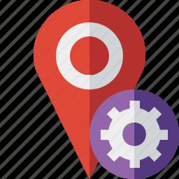 gps, location, map, marker, navigation, pin, settings icon