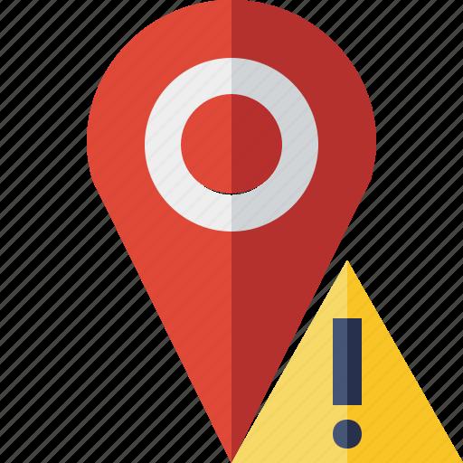 gps, location, map, marker, navigation, pin, warning icon