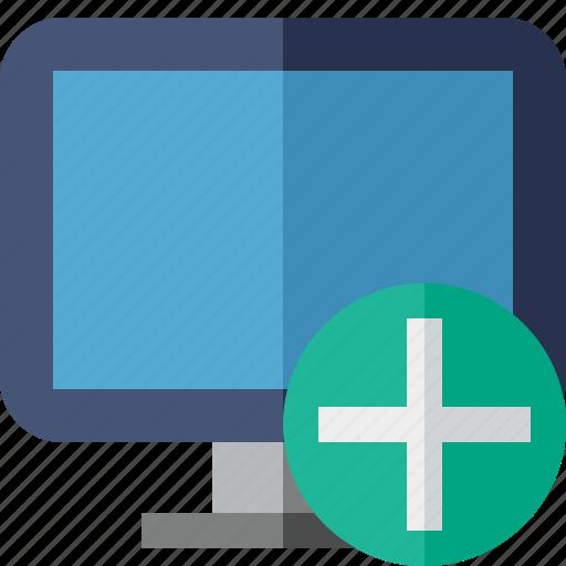 add, computer, desktop, display, monitor, screen icon