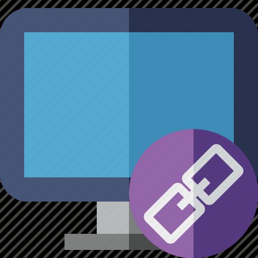 computer, desktop, display, link, monitor, screen icon