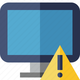 computer, desktop, display, monitor, screen, warning icon