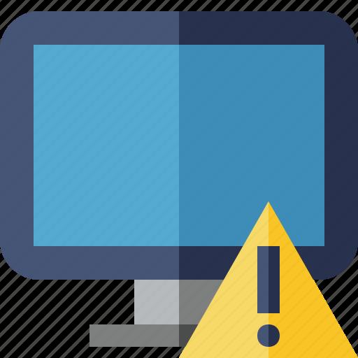 computer, desktop, display, monitor, screen, warning icon