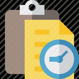 clipboard, clock, copy, paste, task icon