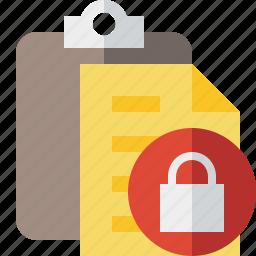 clipboard, copy, lock, paste, task icon