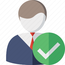 account, business, client, office, ok, user icon