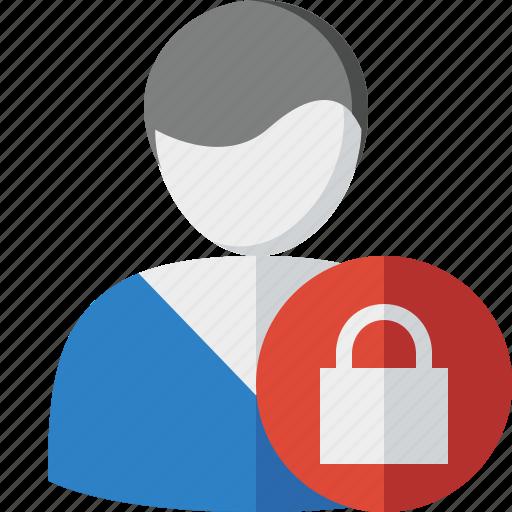 account, client, lock, male, profile, user icon