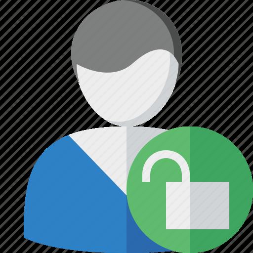 account, client, male, profile, unlock, user icon