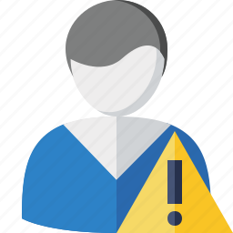 account, client, male, profile, user, warning icon
