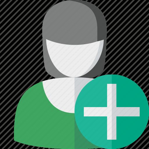 account, add, female, profile, user, woman icon