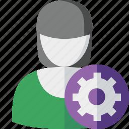 account, female, profile, settings, user, woman icon