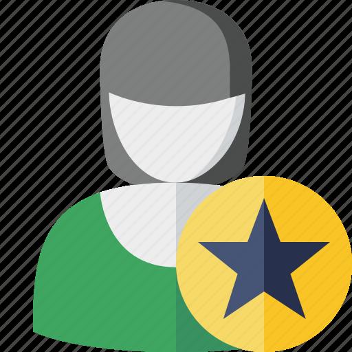account, female, profile, star, user, woman icon
