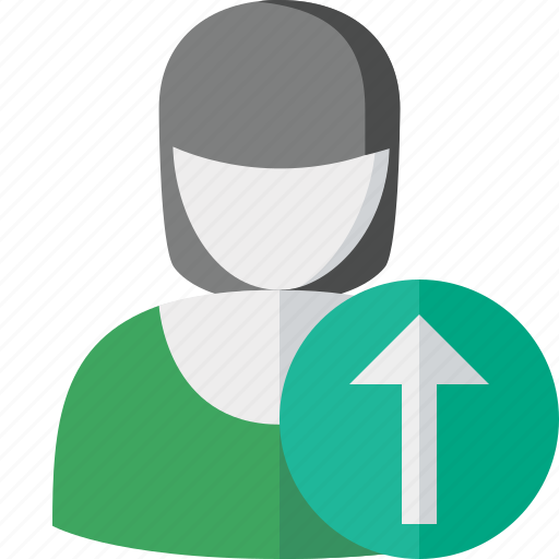 account, female, profile, upload, user, woman icon