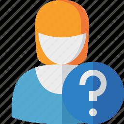 account, female, help, profile, user, woman icon
