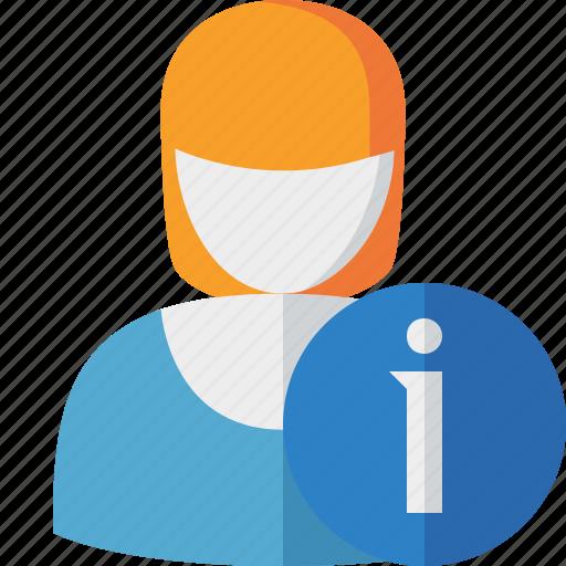 account, female, information, profile, user, woman icon