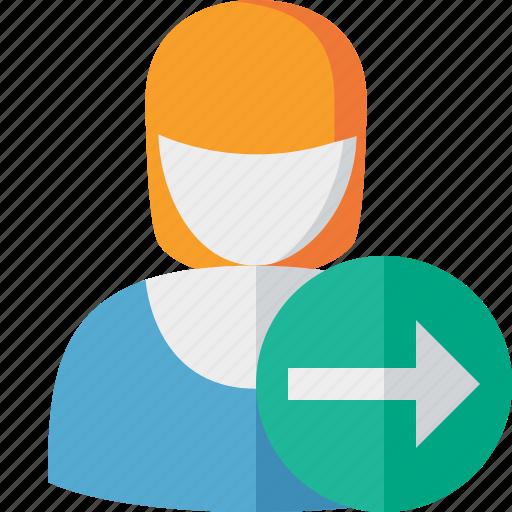 account, female, next, profile, user, woman icon