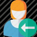 account, female, previous, profile, user, woman