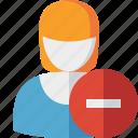 account, female, profile, stop, user, woman