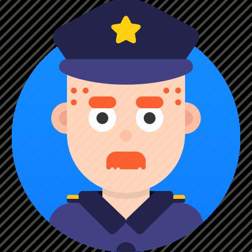 avatar, emoji, face, head, man, policeman, profile icon