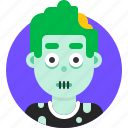 avatar, emoji, face, head, man, profile, zombie icon